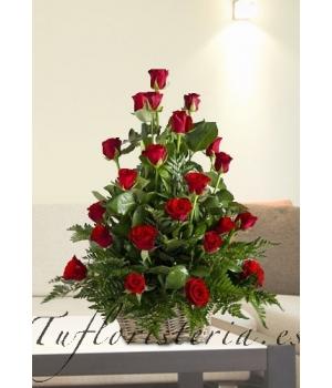 Cesta 25 rosas Rojas